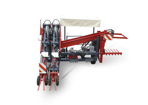 Two row harvester - carried machine